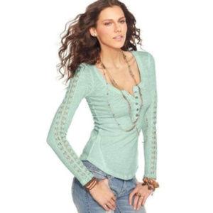 Free People Mint Green Lace Trim Burnout Top Large